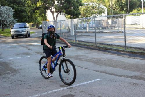 student on bike